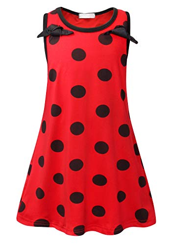 AmzBarley Girls Ladybug Costumes Dress Cosplay Lady Bug Fancy Party Dress up Kids Chlids Red Dot Outfits Sleeveless Halloween Dress Age 5-6 Years Size 6 ()