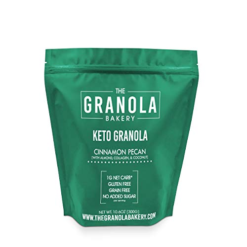 Granola Bakery - Cinnamon Pecan Keto Granola - 1g Net Carb, 10.6Oz Bag - Sugar Free Low Carb Keto Cereal - Gluten Free, Grain Free, No Sugar Added, Diabetic Friendly Snack