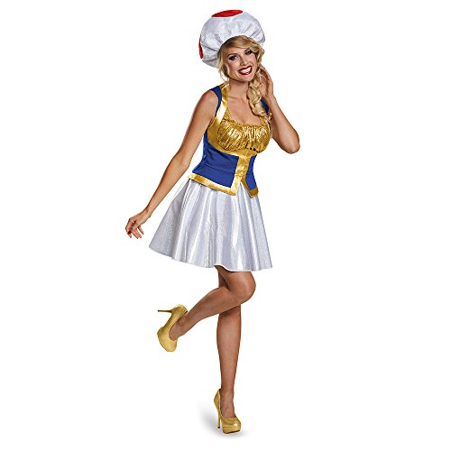 Toad Mario Costumes (Toad Female Version Costume, Junior (7-9))