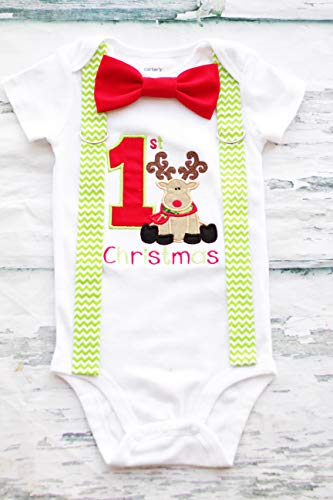 Baby Boy First Christmas Reindeer Bodysuit