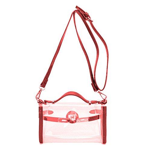 Transparente Bandolera Mano 12 Dabixx 76x5 de PVC 8 Claro de PVC 66x2 Gris de Bolso 22x7x13cm Rosa Rojo diseño Color t4wqEw8W