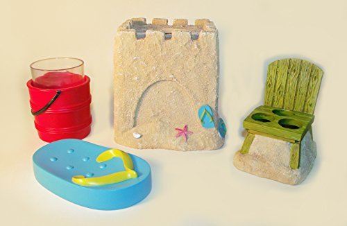 Set of 4 Beach Scene Bath Accessories including Sand Castle Tissue Box Cover, Flip Flop Soap Dish, Sand Pail Tumbler and Beach Chair Toothbrush Holder (Resin Flip Flop)
