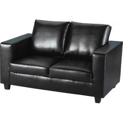 Tempo 2-Sitzer-Sofa, PU-Leder, Polsterung: schwarz