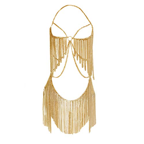 (MineSign Boho Jewelry Women Metal Body Chain Set Indian Belly Chain Bikini Halloween Costume Party (Gold))