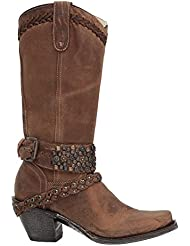 CORRAL Womens Woven Stud and Harness Boot Square Toe Brown 8.5 M