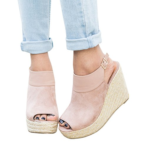 Syktkmx Womens Platform Wedge Sandals Suede Peep Toe Strap Buckle Mid Heel Espadrille Shoes (Womens Sandals Wedge)
