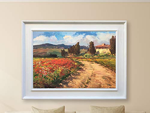 Italy Painting Fine Original on Canvas Tuscan Art Poppies Landscape Wall Decor for Living Room Ready to Hang Unique ()