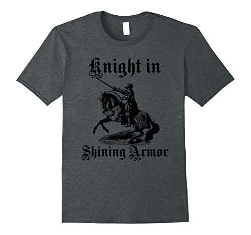 Shining Knight Costume (Mens Knight In Shining Armor Medieval and Renaissance T Shirt Medium Dark Heather)