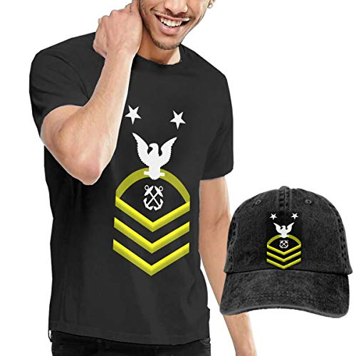 (KFR&KNED Navy Master Chief Petty Officer Shoulder Patch Rate Insignia Gold Mens Cotton Crewneck Short Sleeve T Shirt and Washed Denim Hat)
