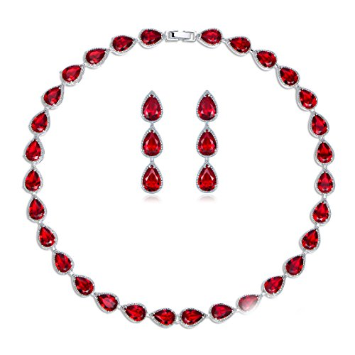 (GULICX Silver Plated Base Ruby-Color Red 3 Jewelry Set Necklace Earrings Women Wedding Party)