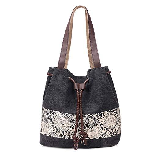 CHENGYI Épaule Messenger Bag Dames De Mode Impression Toile Voyage Casual Crossbody Sacs Satchel Noir