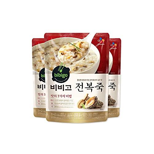 Bibigo Koreaanse Abalone Rijstpap, magnetronbestendig, 3 Pack (450g x 3)