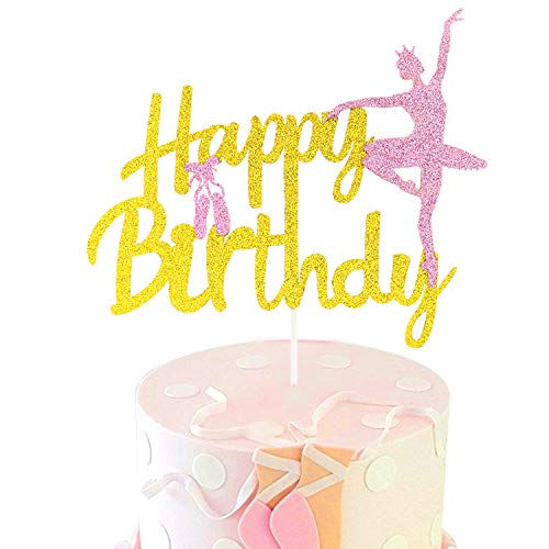 Ballerina Cake Topper Gold Glitter Happy Birthdy Sign Pink Ballet Slippers Baby Girl Birthday Party Supplies Decorations (Double Sided)]()