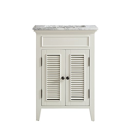 Vinnova 708024-AW-CA-NM Piedmont 24 inch single Vanity In Antique White with Carrera White Marble Top Without Mirror