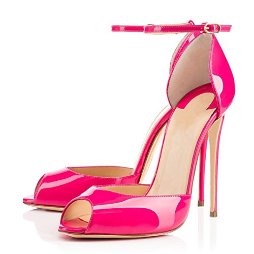Heels Pointed Sandals Pumps Women Stiletto Slip D'orsay StrapHigh Ankle Size Pink Toe On Dress 13 1wzqAfzt