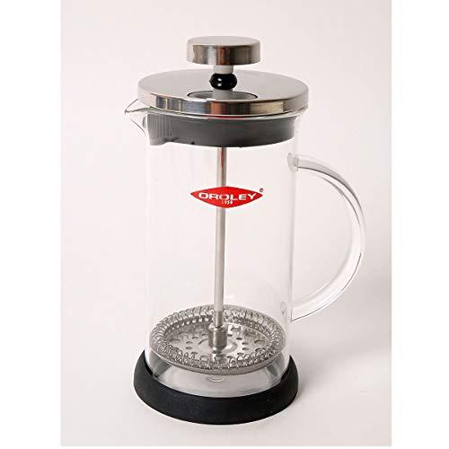 Oroley - Cafetera Francesa Spezia | de Embolo | de Acero Inoxidable y Cristal | 3 Tazas | Para Cafe y Te | 3