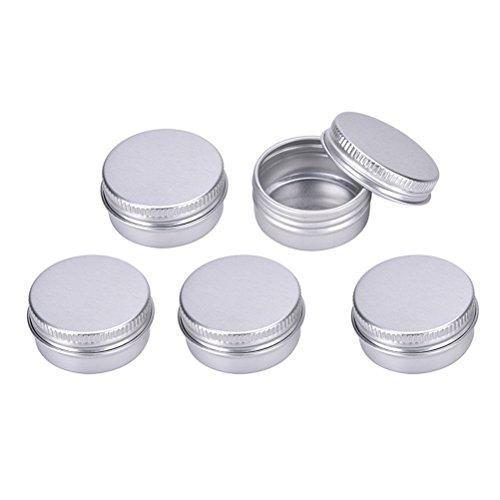 TUANTUAN 5 Pcs Mini Screw Top Round Aluminum Tins Storage Cans Storage Organization for Lip Balm,Crafts,Cosmetic,Candles