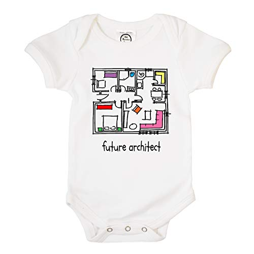 The Spunky Stork Future Architect Organic Cotton Baby Bodysuit (0-3m)...