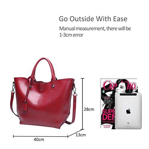 para PU de Crossbody Bolsa Oscuro Grande Bucket Bandolera Rojo NICOLE Mujer Bolso Bolsos Vino Tote Tinto Bag de Monederos Mujer Elegante Bolso Mano amp;DORIS qwwAxZH8