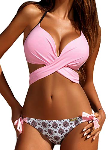 Ring Top Tankini Halter (FITTOO Sexy Padded Bikini with Underwire Push up Triangle Top Splicing Color Bottom 2 Piece Bathing Suits #3 Pink M)