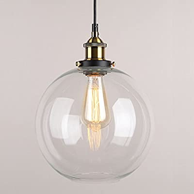 WINSOON 9 X 9 Inch Globe Vintage Industrial Ceiling Lamp Clear Glass pendant lighting for kitchen island Loft Shade Fixture
