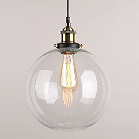WINSOON 9 X 9 Inch Globe Vintage Industrial Ceiling Lamp Clear Glass pendant lighting for kitchen island Loft Shade - Lighted Pot Rack