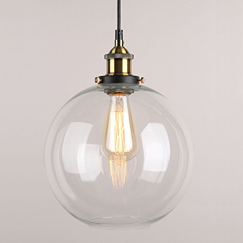 WINSOON 9 X 9 Inch Globe Vintage Industrial Ceiling Lamp Clear Glass pendant lighting for kitchen island Loft Shade Fixture Review