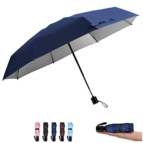 G4Free Compact Mini Travel Umbrella UV Protection Sun & Rain Folding Umbrella Windproof Lightweight Collapsible Umbrella for Men Women Kids(Dark Blue)
