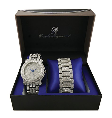 Ice'd Out Watch and Matching Bracelet fit for a King!! Mens Hip Hop Iced Out Silver Tone Simulated Diamond Watch & Bracelet Gift Set - L0504B Silver
