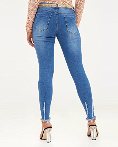 Long Haute Dcontract Jeans Dchir Femmes Classique Jeans Taille Fonc Bleu Skinny PwXUqn7