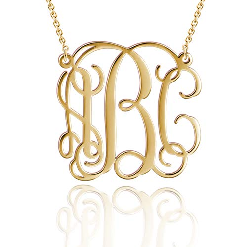 LONAGO Custom Any Initial Monogrammed Necklace 18K Gold Over Sterling Silver Personalized Name Necklace (Silver 18K Gold Plated)