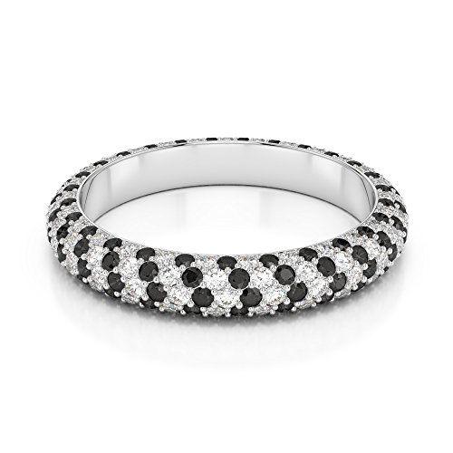 G-H/VS 0,60 CT Coupe ronde sertie de diamants Noir Full Eternity Bague en platine 950 Agdr-1116