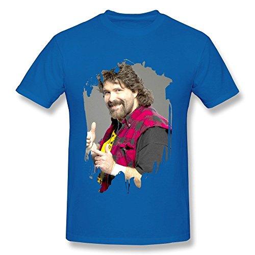 99988b3c Men's Mick Foley Wrestler Poster O-neck Tshirt Size L RoyalBlue