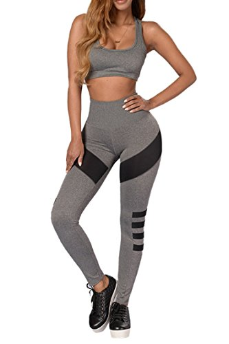 Pink Queen Women's Grey Striped Sports Crop Top Tank and Tights Pants (Crop Set)
