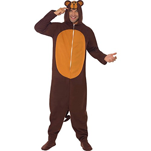 Smiffy's Men's Monkey Costume, All in One with Hood, Party Animals, Serious Fun, Size L, (Mens Monkey Costume)