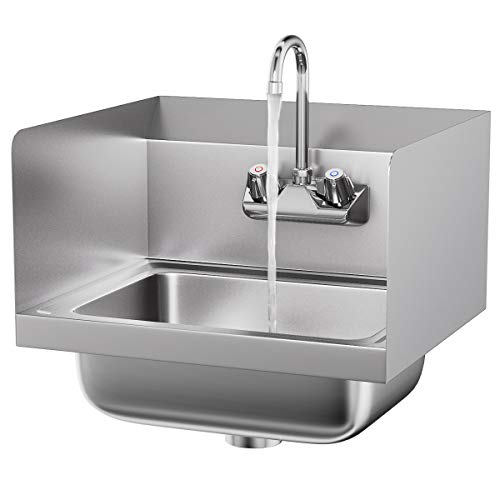 Giantex Commerical Washing Sink NSF Stainless Steel Wall Mount Hand Washing Basin with Faucet & Side Splashes Heavy Duty Hot & Cold Temperature Water Inlet ()