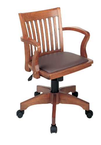 Wood Office Chair (Office Star Deluxe Wood Bankers Desk Chair with Brown Vinyl Padded Seat, Fruit Wood)