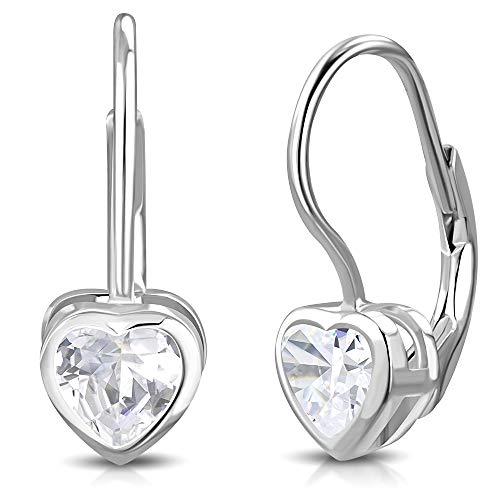 Clear Bezel Set - 925 Sterling Silver Clear Bezel-Set CZ Love Heart Lever Back Earrings, 0.7