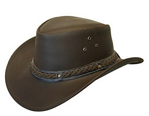 - Leather Down Under HAT Aussie Bush Cowboy Style Classic Western Outback Brown XL
