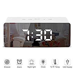 Twinlight - LED Mirror Alarm Clock Digital Snooze Table Clock Wake Up Light Electronic Large Time Temperature Display Home Decoration Clock