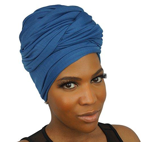 Headwraps & Turbans | Stretch Jersey Knit Head Wrap | Denim BLEU