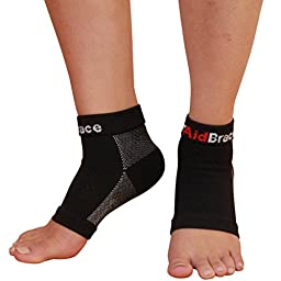 AidBrace Plantar Fasciitis Sleeves (Pair) - Premium Quality Arch Compression Support Socks (Large)