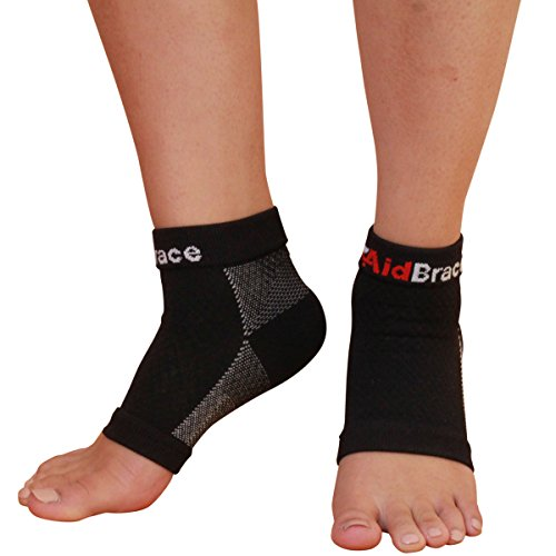 (AidBrace Plantar Fasciitis Compression Sleeves Socks (Pair) for Arch, Ankle, Heel Support to Reduce Swelling and Foot Pain for Men and Women (Large))