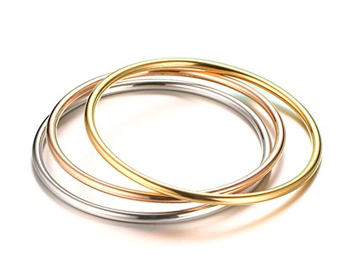 Stainless Steel Tri-color Plain Thin Hoop Infinity Triple Bangle Bracelets Set of 3 for Women