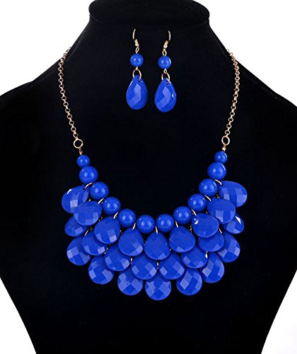 Fashion Floating Bubble Necklace Teardrop Bib Collar Statement Jewelry for Women