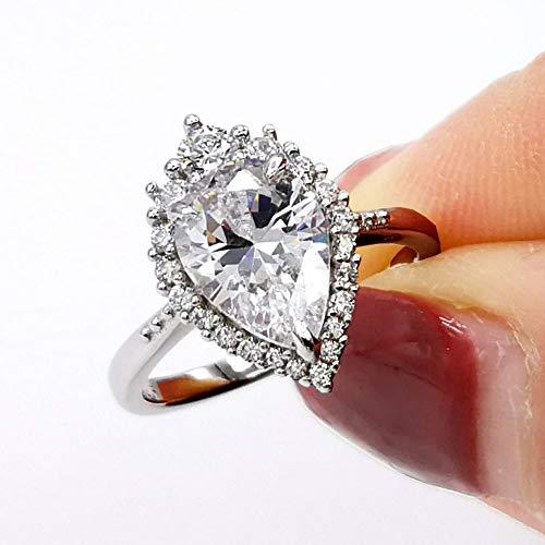 LESFD 2 Carat Pear Cut CZ Cubic Zirconia Halo Engagement Ring (9)