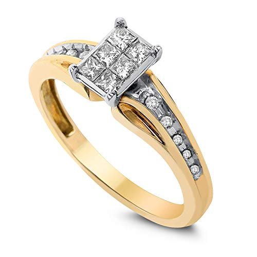 Diamond Couture 10K Yellow Gold and White Gold 0.35 Carat Diamond Rings for Women, Engagement Rings, I-J Color, I1-I2 Clarity, Available in sizes 6,7,8