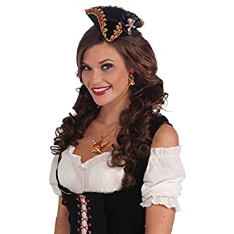 Adult Buccaneer Mini Fascinator Lady Pirate Hat Accented with Gold and Red Lace Braid Trim and a Black Satin Ribbon Pendant with a Metal Skull and Crossbones Center Pin by GSG Halloween Costumes