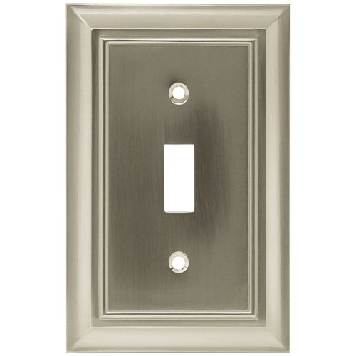 BRAINERD 64209 Architectural Single Toggle Switch Wall Plate / Switch Plate / Cover satin nickel
