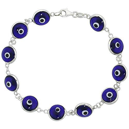 Sterling Silver Evil Eye Bracelet Clear Navy Blue, 7 inch
